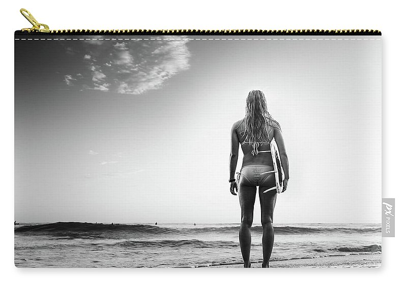 Recreational Pursuit Carry-all Pouch featuring the photograph B&w Surfer by Michaelsvoboda