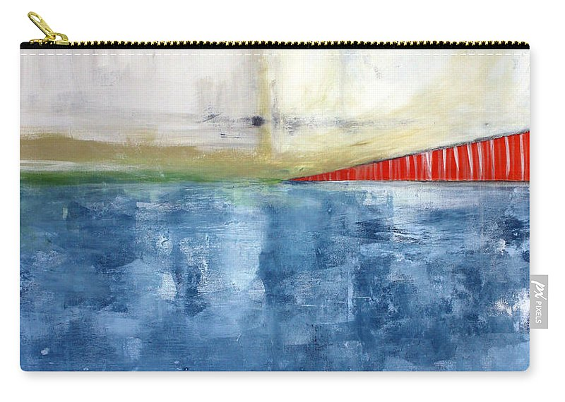 Golden Gate Bridge Carry-all Pouch featuring the mixed media By The Bay- Abstract Art by Linda Woods