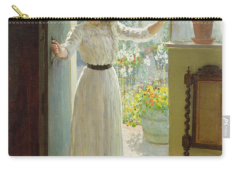 Door Carry-all Pouch featuring the painting By The Cottage Door by William Henry Margetson