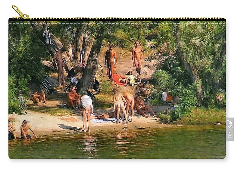 Family Reunion Carry-all Pouch featuring the painting By The River by Troy Caperton