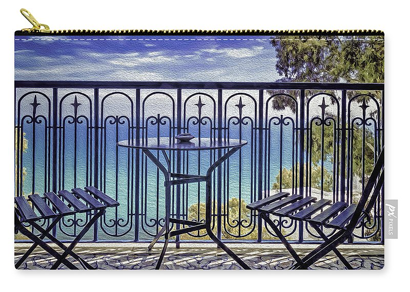 Arabic Carry-all Pouch featuring the photograph By The Sea by Maria Coulson