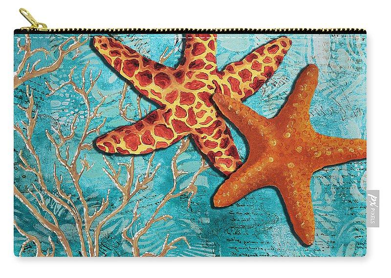 Colorful starfish sea life coastal throw blanket from my art.