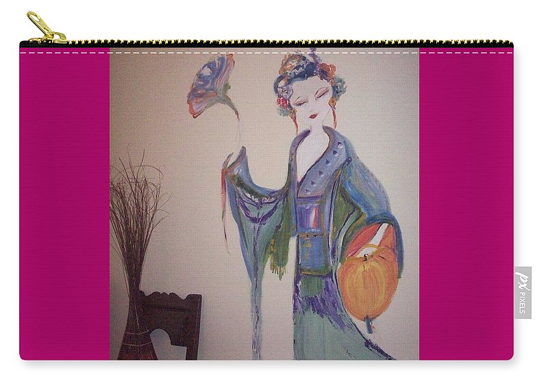 Japan Carry-all Pouch featuring the painting Bye Bye Peony by Judith Desrosiers