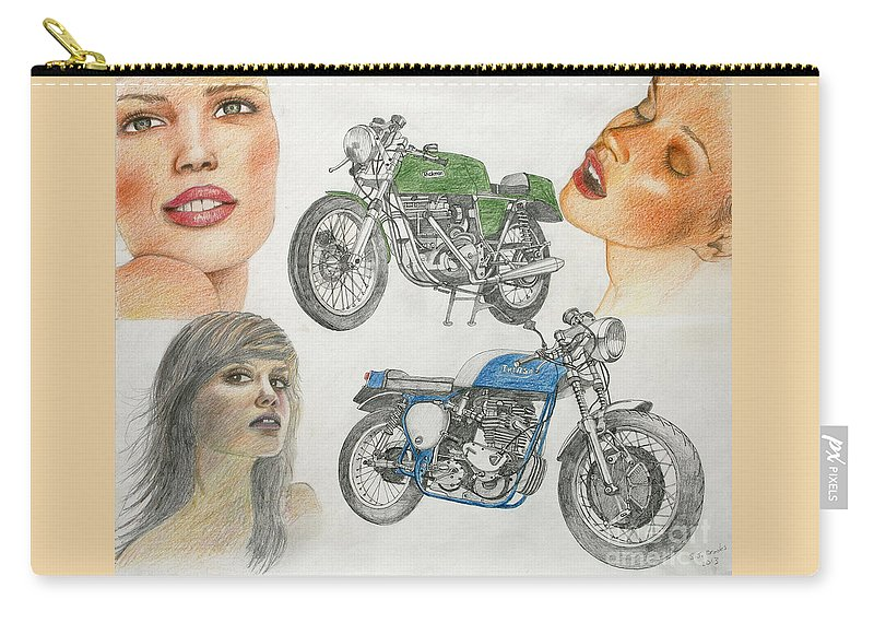 Models Carry-all Pouch featuring the drawing Bykes And Byrds 1 by Stephen Brooks