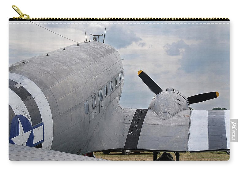 Aircraft Carry-all Pouch featuring the photograph C-47 3880 by Guy Whiteley