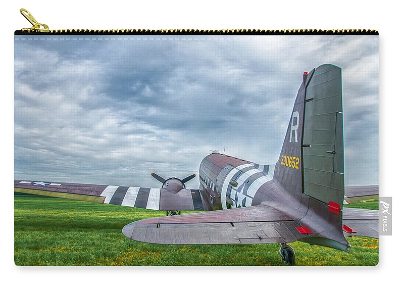 Aviation Carry-all Pouch featuring the photograph C-47-w7 7d06 by Guy Whiteley