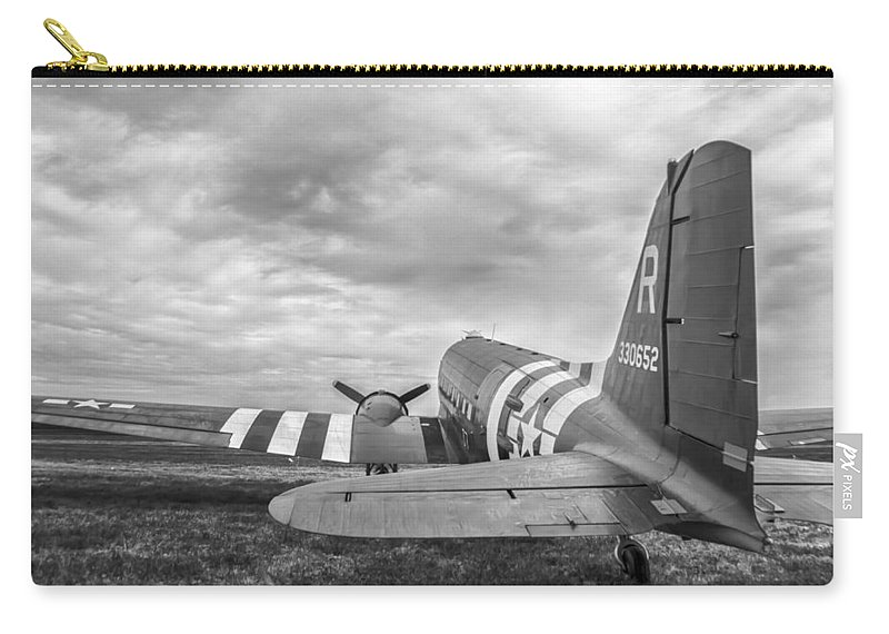 Aviation Carry-all Pouch featuring the photograph C-47-w7 7d06b by Guy Whiteley
