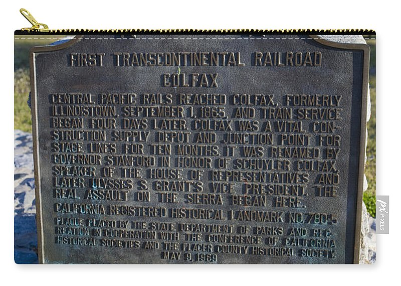 Travel Carry-all Pouch featuring the photograph Ca-780-5 First Transcontinental Railroad - Colfax by Jason O Watson