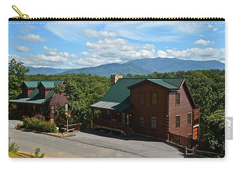 Cabin Carry-all Pouch featuring the photograph Cabins In The Smokies by Frozen in Time Fine Art Photography