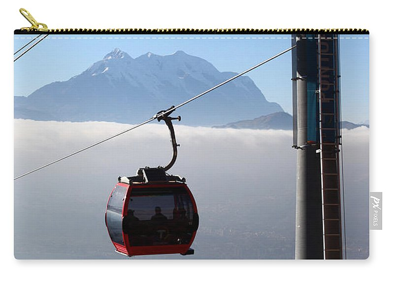 Cable Car Carry-all Pouch featuring the photograph Cable Car Above The Andes by James Brunker