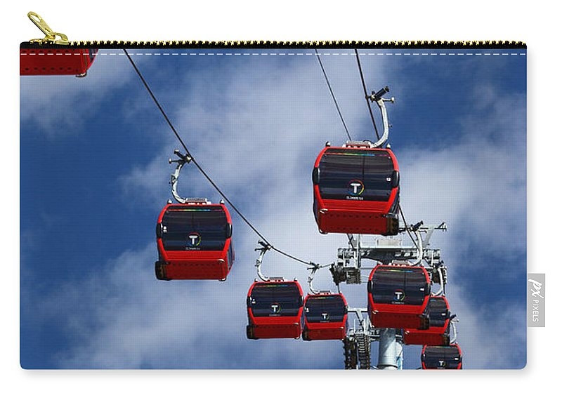 Cable Cars Carry-all Pouch featuring the photograph Red Line Cable Car Gondolas Bolivia by James Brunker