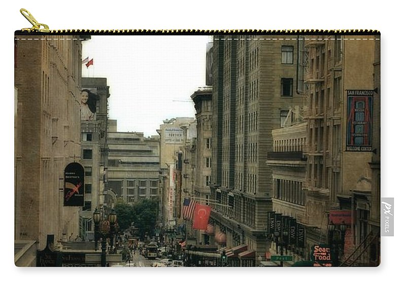 Cable Car Carry-all Pouch featuring the photograph Cable Car In The City by Michelle Calkins