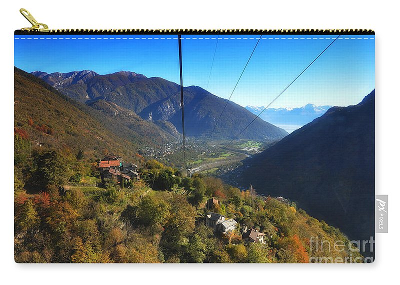 Cableway Carry-all Pouch featuring the photograph Cableway Over The Mountain by Mats Silvan