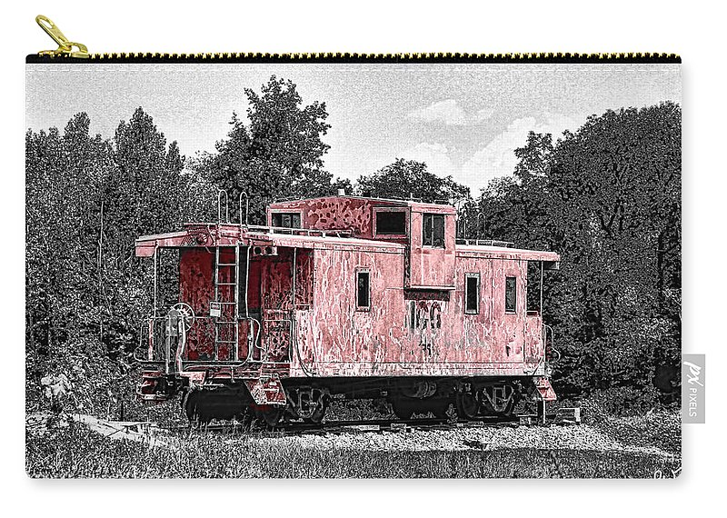 Caboose Carry-all Pouch featuring the photograph Caboose At Rest by Bonnie Willis