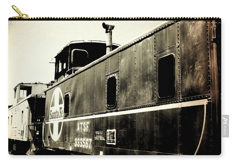 Caboose Carry-all Pouch featuring the photograph Caboose - Bw - Vintage by Pamela Critchlow