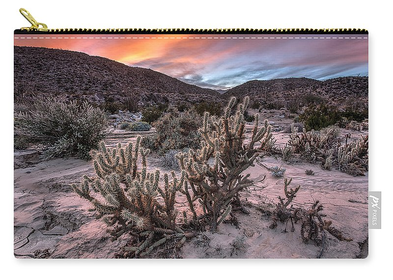 Anza-borrego Desert Carry-all Pouch featuring the photograph Cac-dusk by Peter Tellone