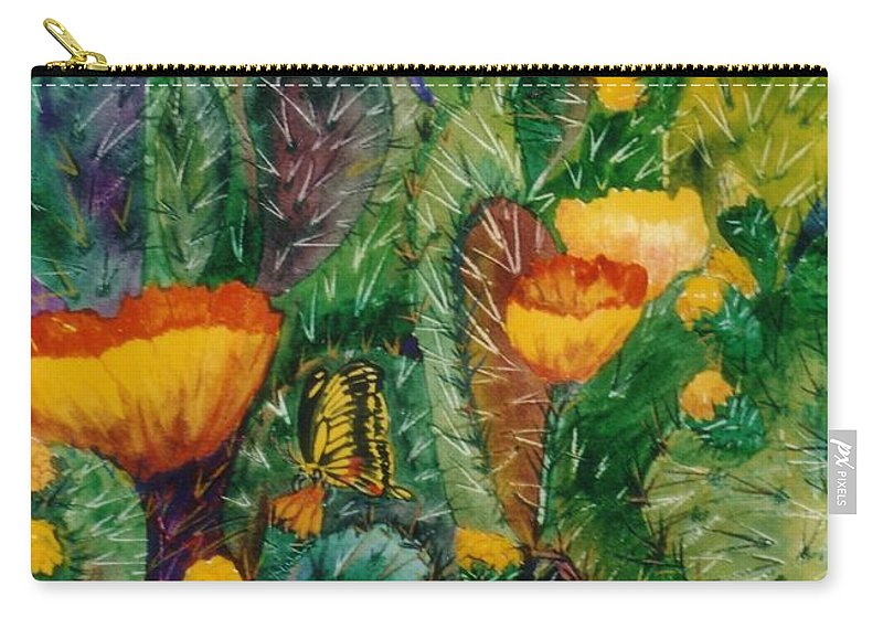 Cactus Carry-all Pouch featuring the painting Cactus Flowers by Don Hand