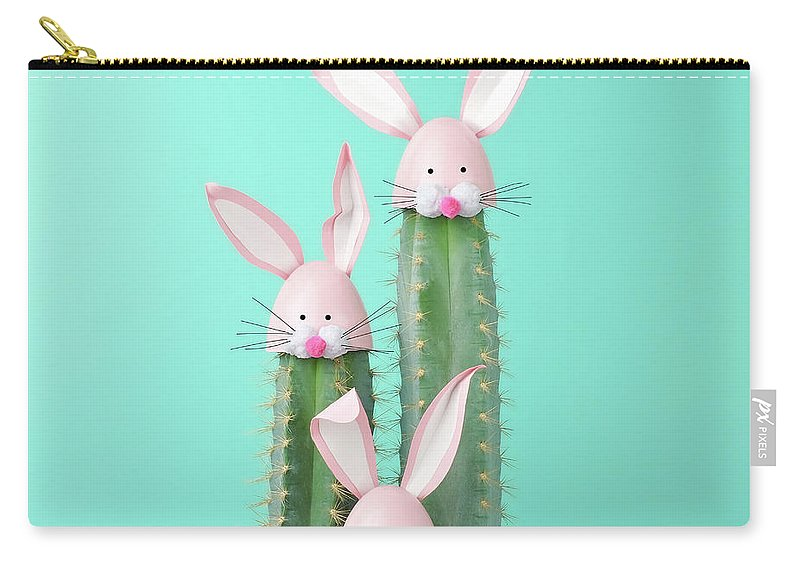 Easter Bunny Carry-all Pouch featuring the photograph Cactus With Easter Rabbit Decorations by Juj Winn