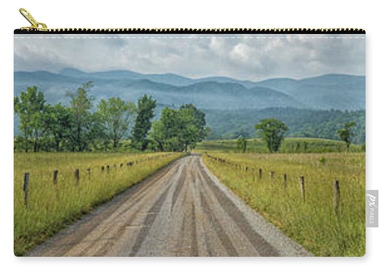 Panorama Carry-all Pouch featuring the photograph Cades Cove Panorama 2 E214 by Wendell Franks