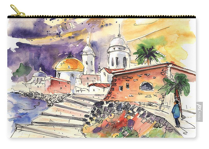 Travel Carry-all Pouch featuring the painting Cadiz Spain 01 by Miki De Goodaboom