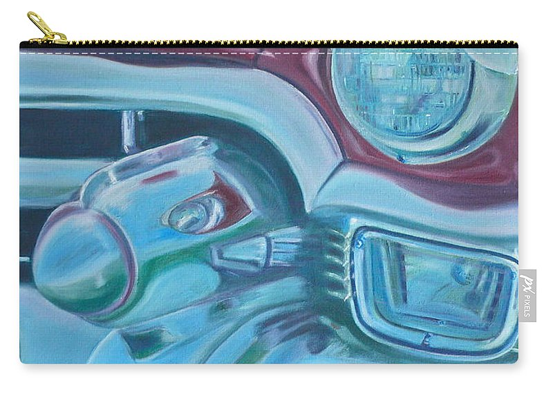 1953 Cadillac Carry-all Pouch featuring the painting Cadzilla 1953 Cadillac Series 62 Convertible by Anna Ruzsan