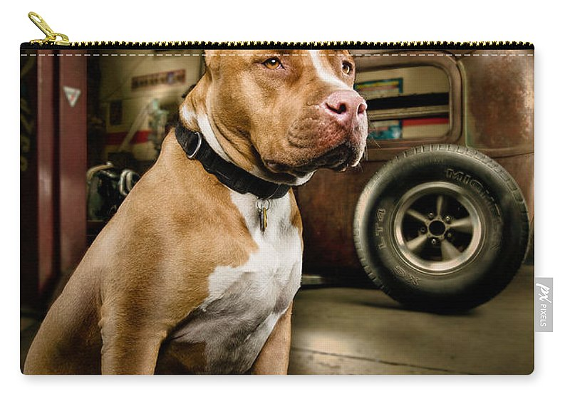 Hotrod Carry-all Pouch featuring the photograph Caesar At Millers Chop Shop by Yo Pedro