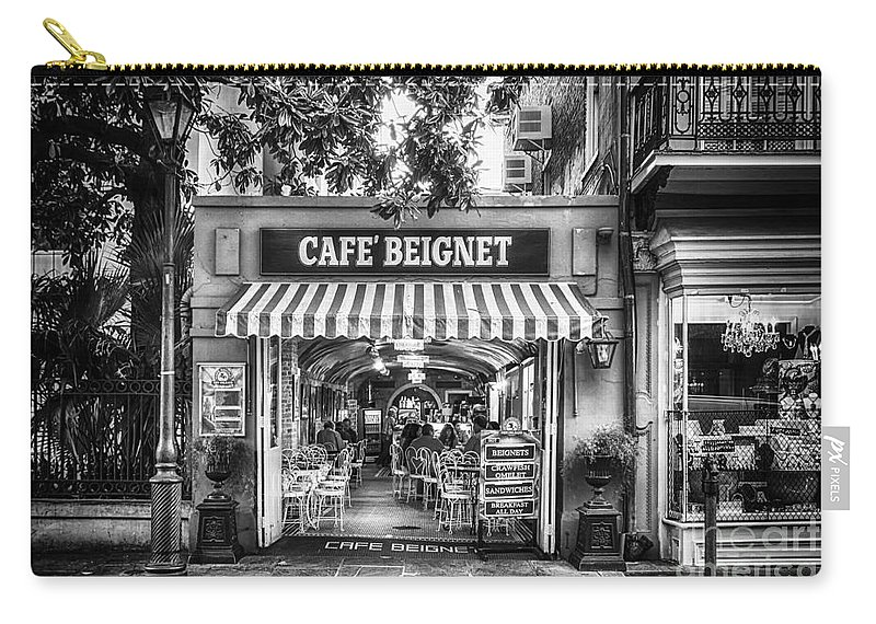 Nola Carry-all Pouch featuring the photograph Cafe Beignet Morning Nola - Bw by Kathleen K Parker