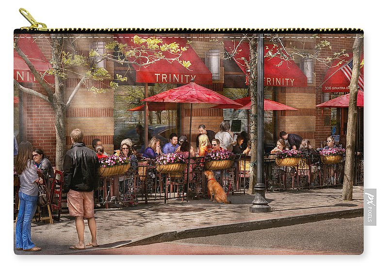 Savad Carry-all Pouch featuring the photograph Cafe - Hoboken Nj - Cafe Trinity by Mike Savad