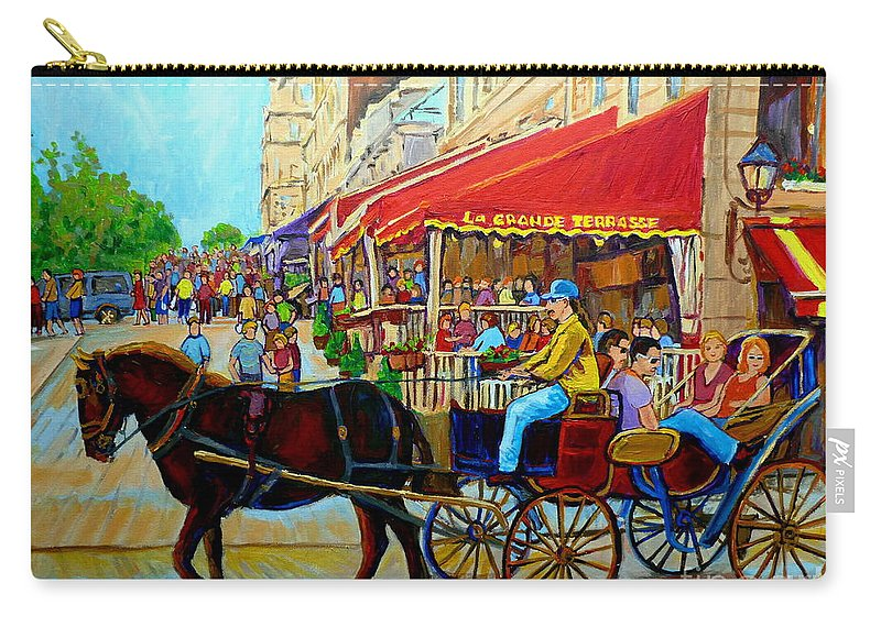 Cafe La Grande Terrasse Carry-all Pouch featuring the painting Cafe La Grande Terrasse by Carole Spandau