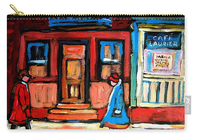 Cafe Laurier Montreal Carry-all Pouch featuring the painting Cafe Laurier Montreal by Carole Spandau