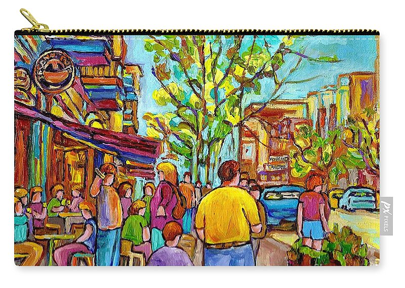 Montreal Streetscene Carry-all Pouch featuring the painting Cafes In Springtime by Carole Spandau