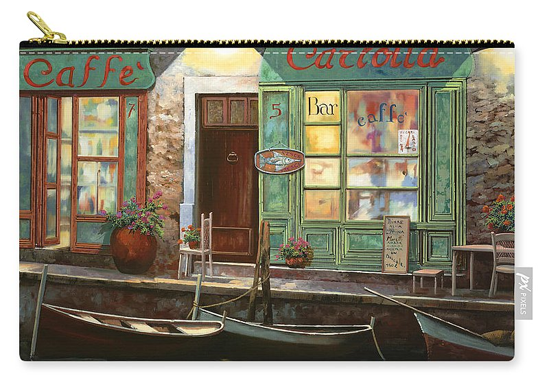 Venice Carry-all Pouch featuring the painting caffe Carlotta by Guido Borelli