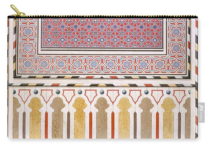 Islamic Carry-all Pouch featuring the drawing Cairo Decoration Of The El Bordeyny by Emile Prisse d'Avennes