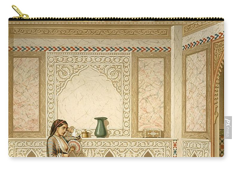 Inside Carry-all Pouch featuring the painting Cairo Interior by Emile Prisse d'Avennes
