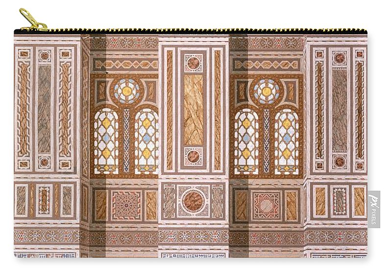 Interior Carry-all Pouch featuring the drawing Cairo Interior Of The Mosque by Emile Prisse d'Avennes