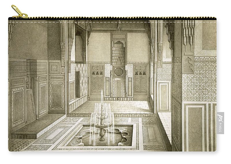 Islamic Carry-all Pouch featuring the drawing Cairo Mandarah Reception Room, Ground by Emile Prisse d'Avennes