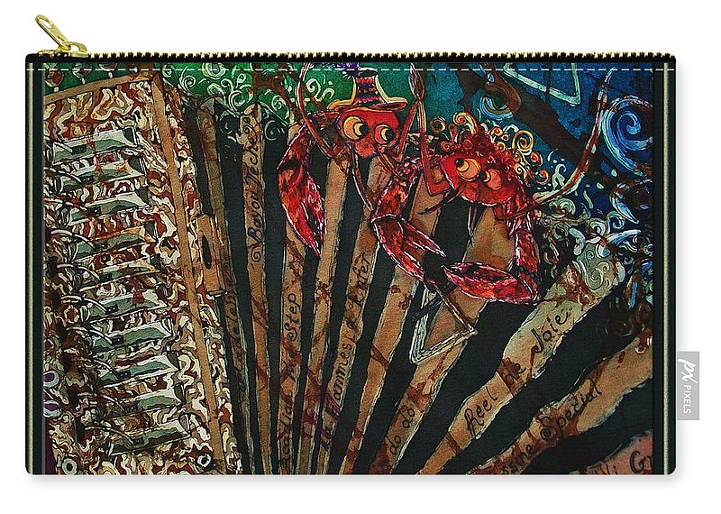 Acadian Carry-all Pouch featuring the painting Cajun Accordian - Bordered by Sue Duda