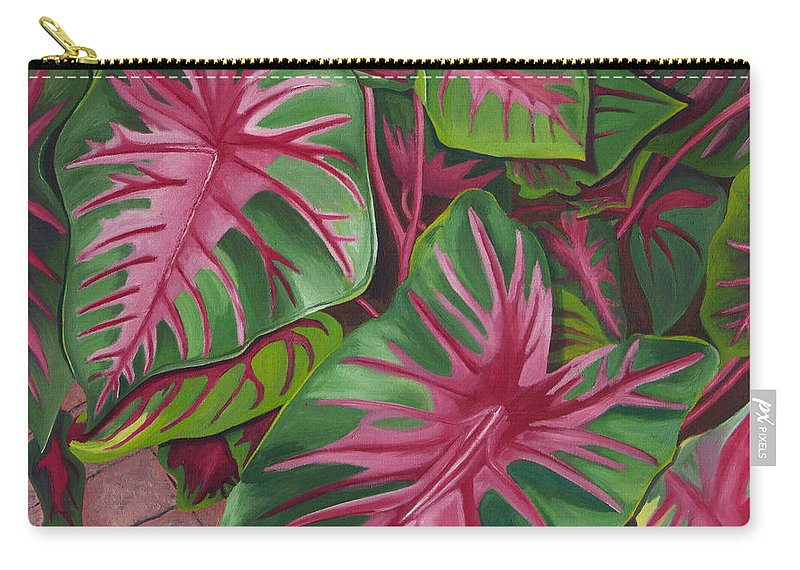 Caladium Carry-all Pouch featuring the painting Caladiums by Annette M Stevenson