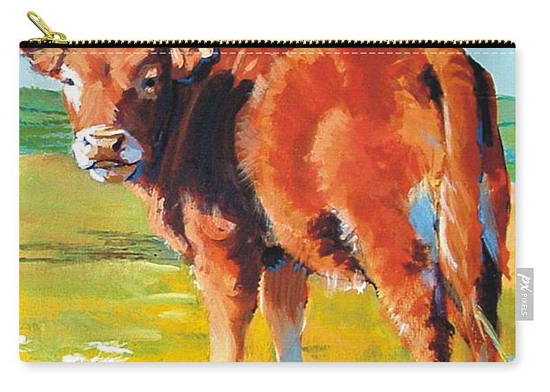 Calf Carry-all Pouch featuring the painting Calf by Mike Jory