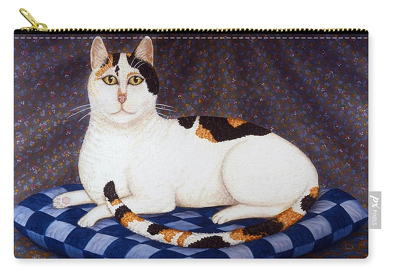 Cat Carry-all Pouch featuring the painting Calico Cat Portrait by Linda Mears