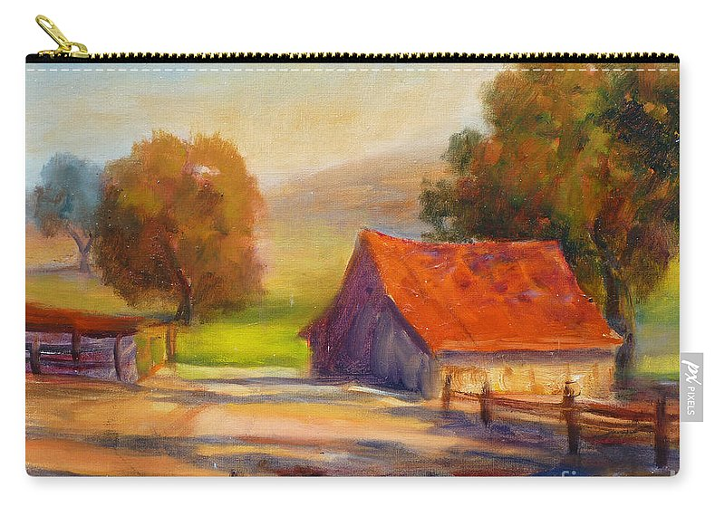 California Barn Carry-all Pouch featuring the painting California Barn by Carolyn Jarvis