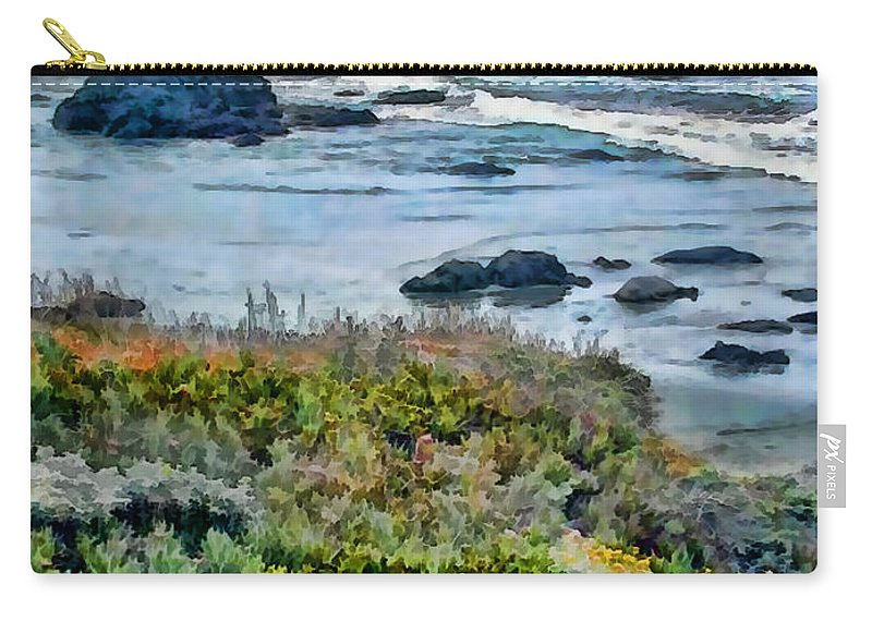 Ocean Carry-all Pouch featuring the painting California Central Coast Near San Simeon by Elaine Plesser