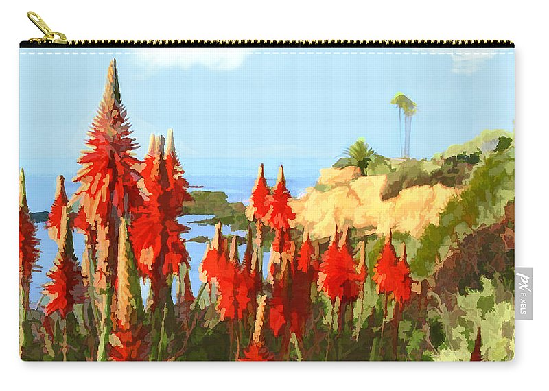Ocean Carry-all Pouch featuring the painting California Coastline With Red Hot Poker Plants by Elaine Plesser