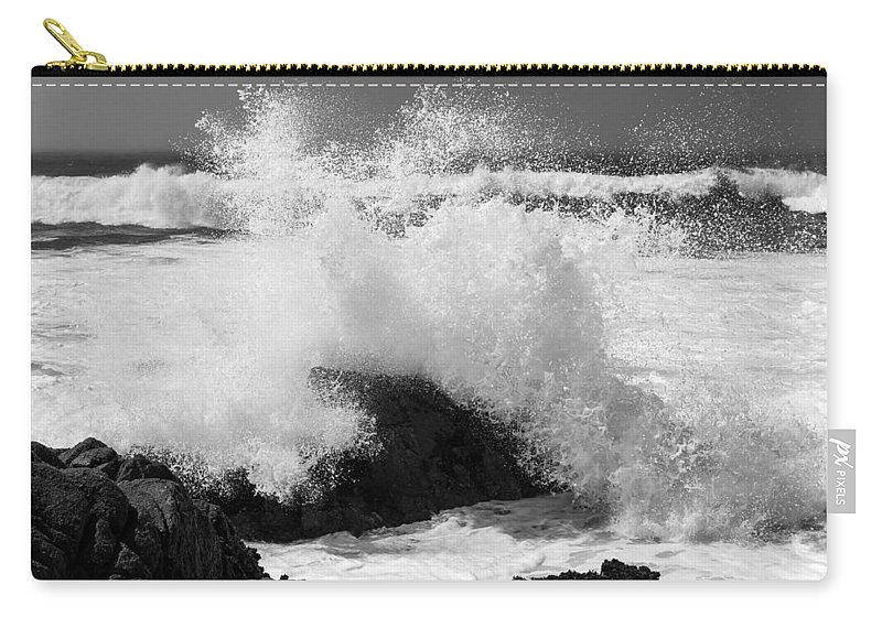 Black And White Carry-all Pouch featuring the photograph California Pacific Coast by Wim Slootweg