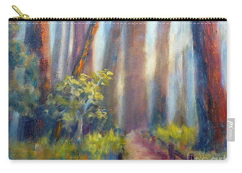 California Redwoods Carry-all Pouch featuring the painting California Redwoods by Carolyn Jarvis