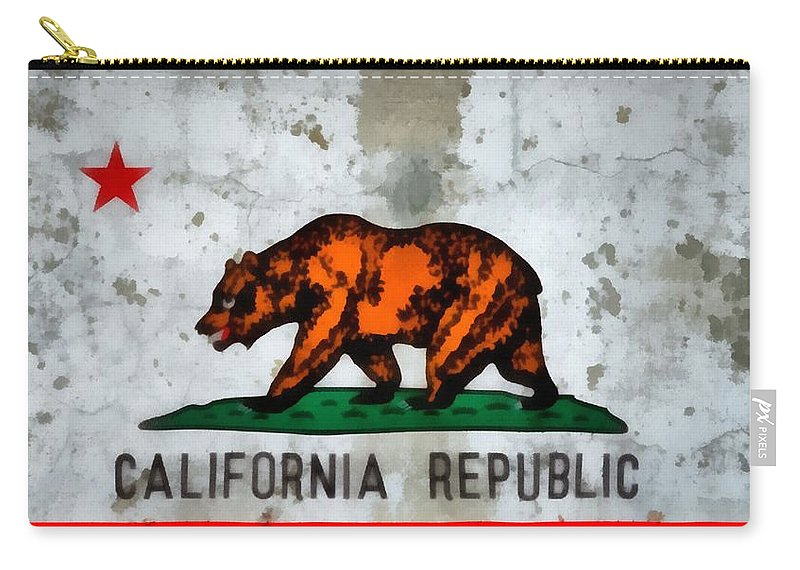 California State Flag Weathered And Worn Carry-all Pouch featuring the painting California State Flag Weathered And Worn by Dan Sproul