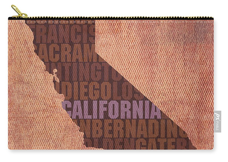 California Word Art State Map On Canvas Los Angeles State Golden Gate Bridge Sacramento San Diego San Francisco Redwood Eureka Beach West Coast Usa Carry-all Pouch featuring the mixed media California Word Art State Map on Canvas by Design Turnpike