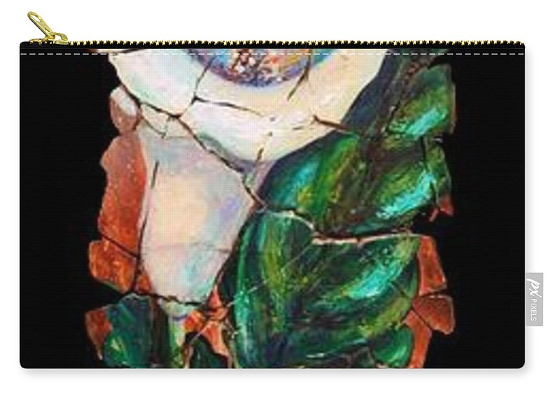 Fresco Antique Painting Flower Carry-all Pouch featuring the painting Calla Fresco by OLena Art Brand