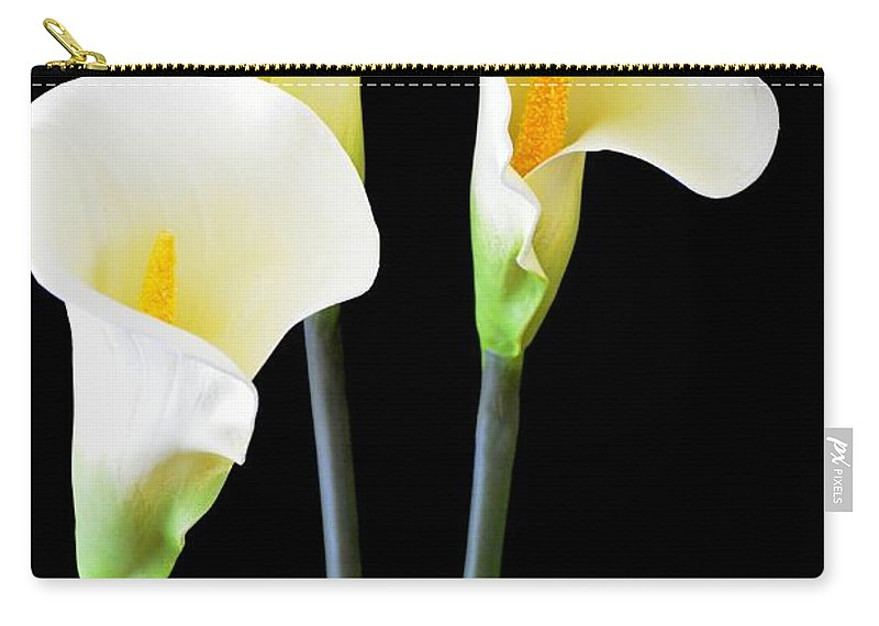 Calla Lily Carry-all Pouch featuring the photograph Calla Lilies In Triplicate by Mary Deal