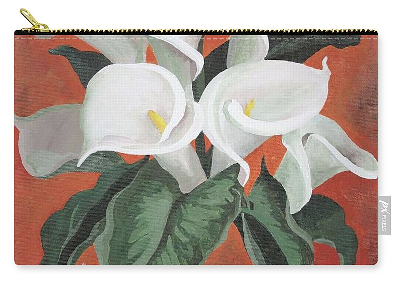 Carry-all Pouch featuring the painting Calla Lilies On A Red Background by Taiche Acrylic Art